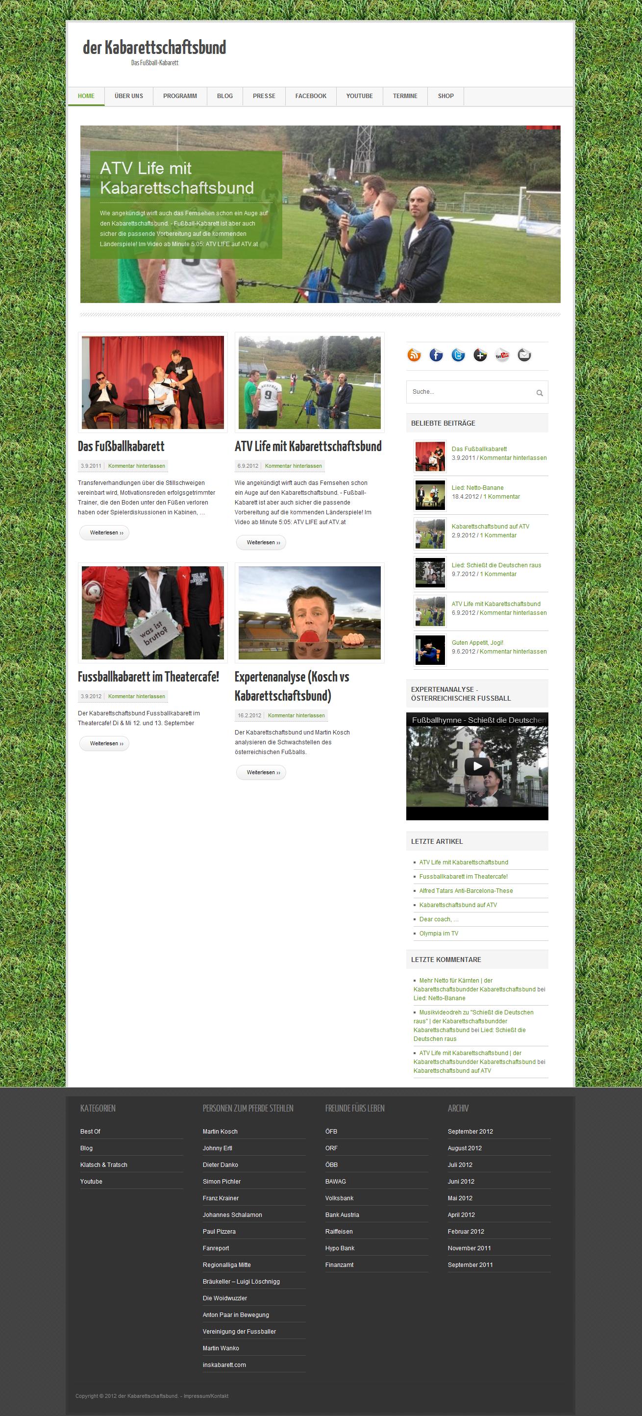 Screenshot www.kabarettschaftsbund.at - Das Fußball-Kabarett