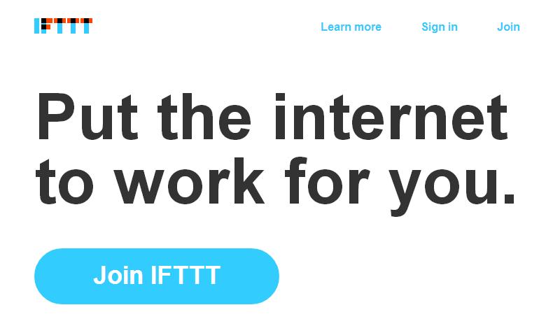Screenshot iffft Startseite - www.ifttt.com