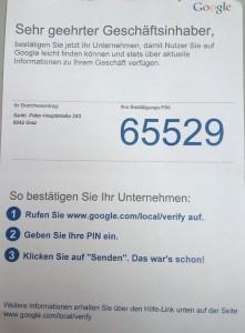 Bestätigungsbrief von Google - klare und deutlich Anweisungen, die wirklich ohne Probleme umsetzbar sind