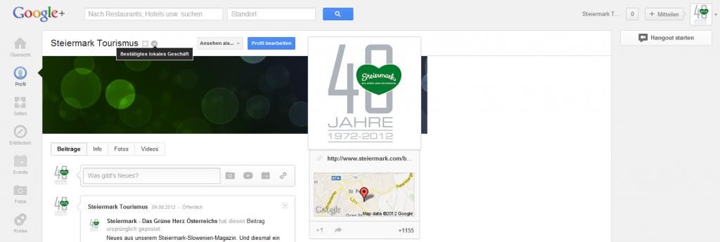Die Verknüpfung des Google+ Local (früher Google Places) Eintrages mit der Google+ Seite ist nun bestätigt!