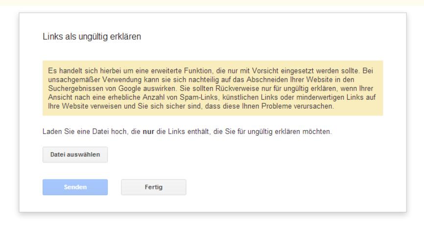 Screenshot: Link Avowel Tool - Google Webmaster Tools
