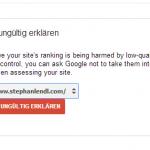 Screenshot: Links für ungültig erklären - Google Webmaster Tools