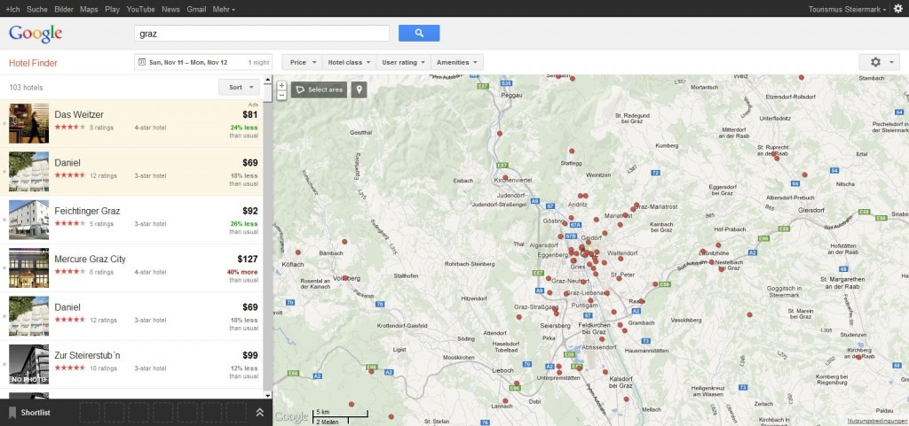 Screenshot: Google Hotel Finder