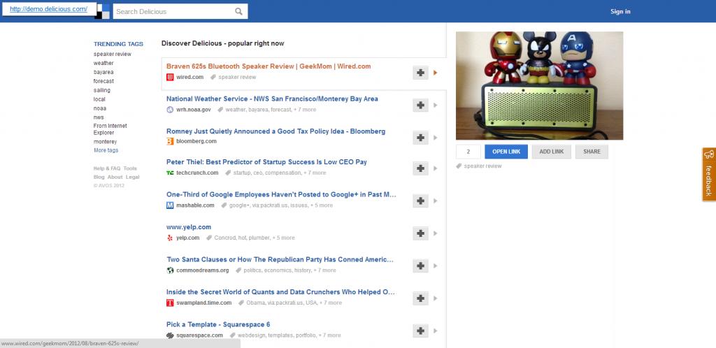 Screenshot: demo.delicious.com