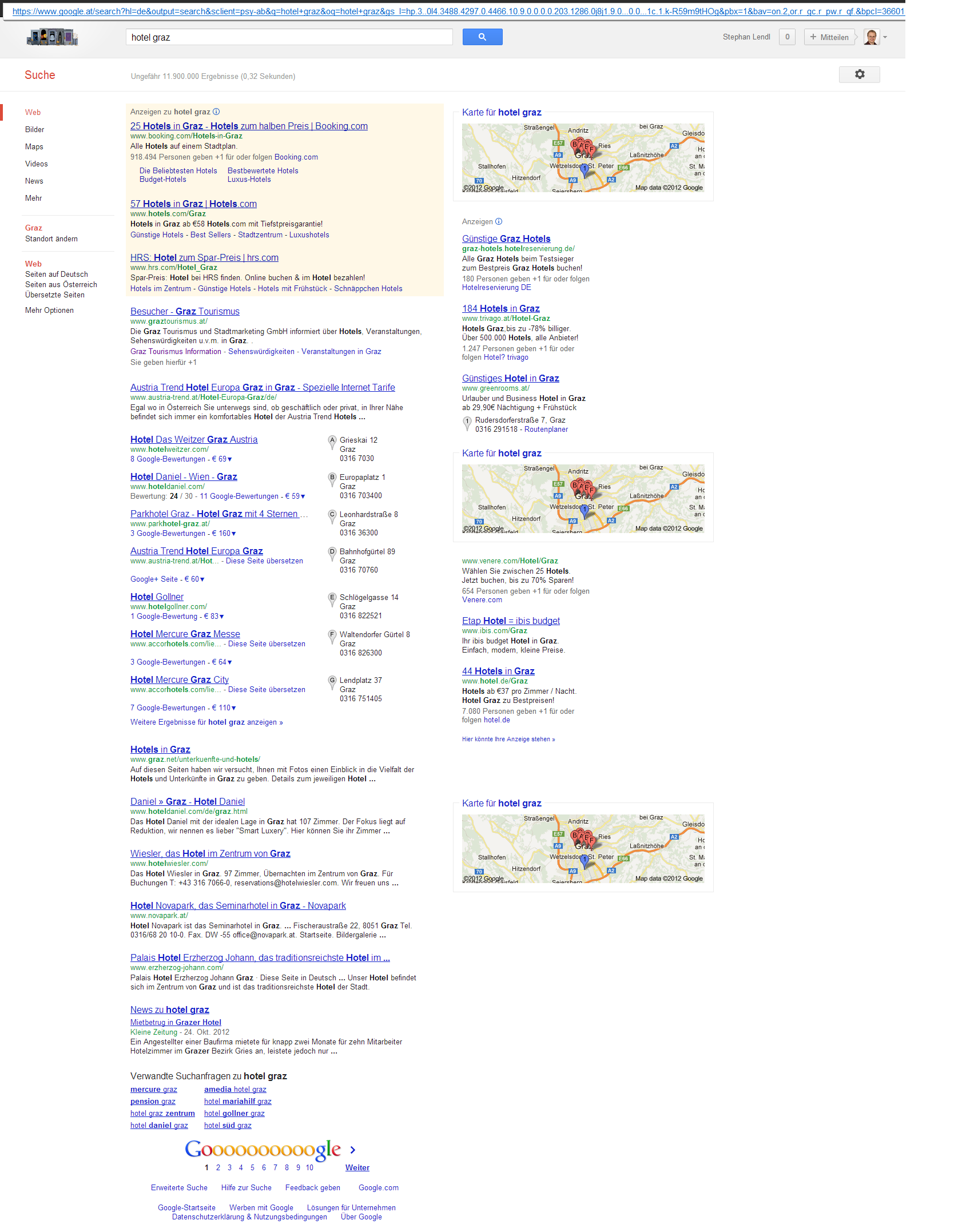 Screenshot: &quot;Hotel Graz&quot; auf www.google.at