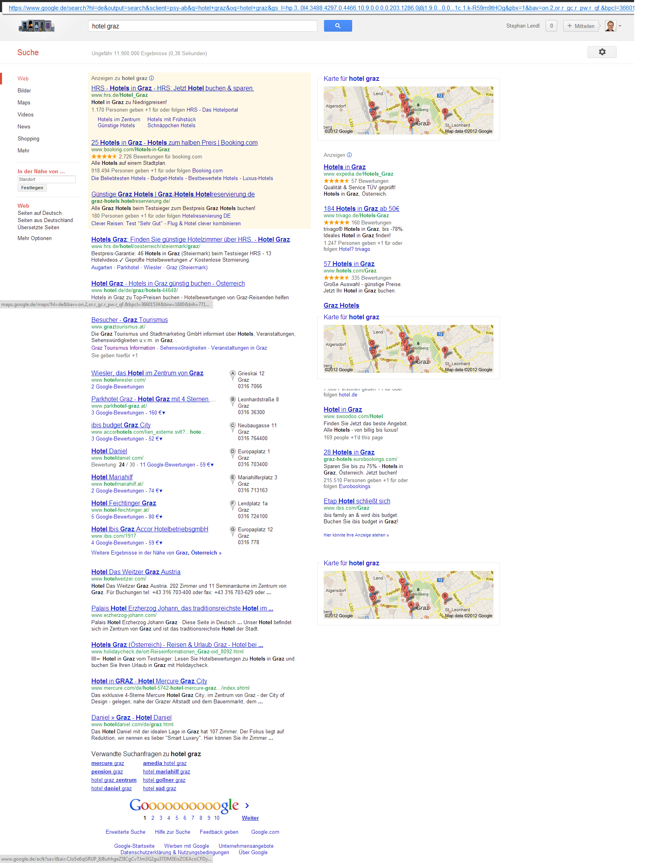 """Screenshot: """"Hotel Graz"""" auf www.google.de"""