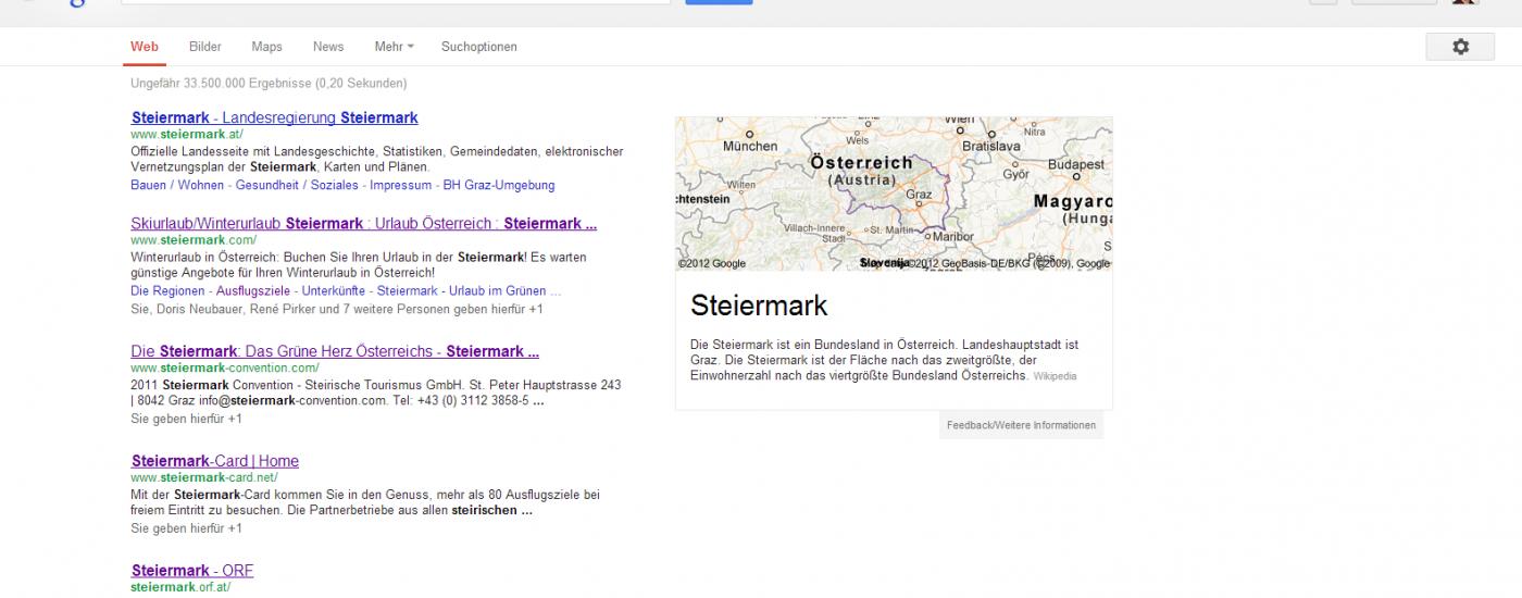 """Screenshot www.google.at: Suche nach Steiermark - Destination sollten die Entwicklung generell - und die Besucher über """"branded Keywords"""" im Speziellen - im Auge behalten."""