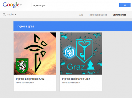 Ingress Graz Communities auf Google+