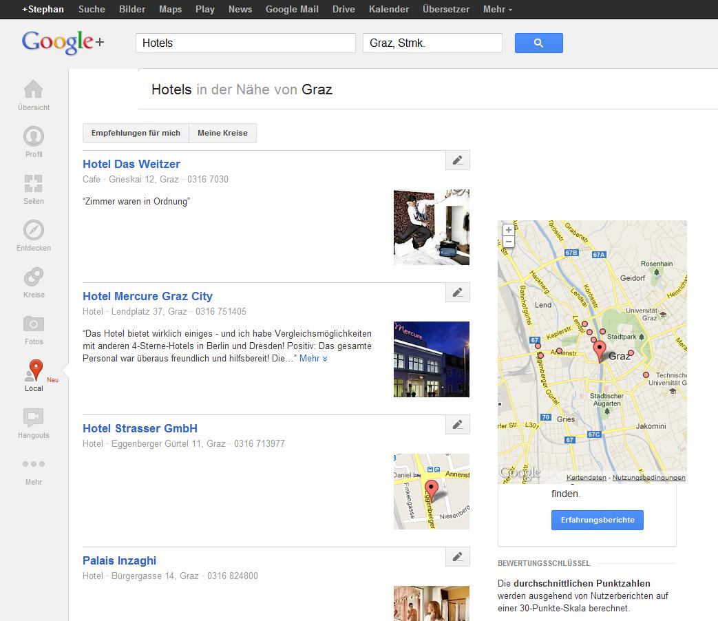 Screenshot: Suche nach Hotels in Graz auf Google+