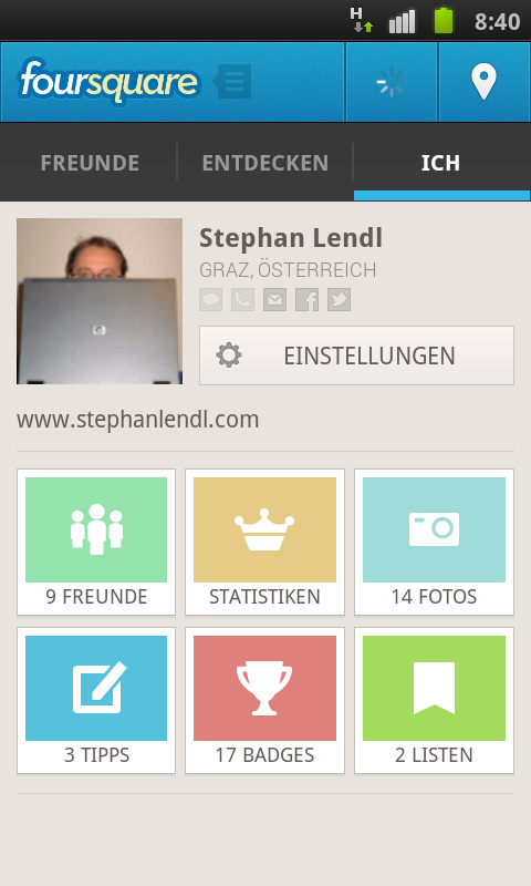 Profil-Seite neu