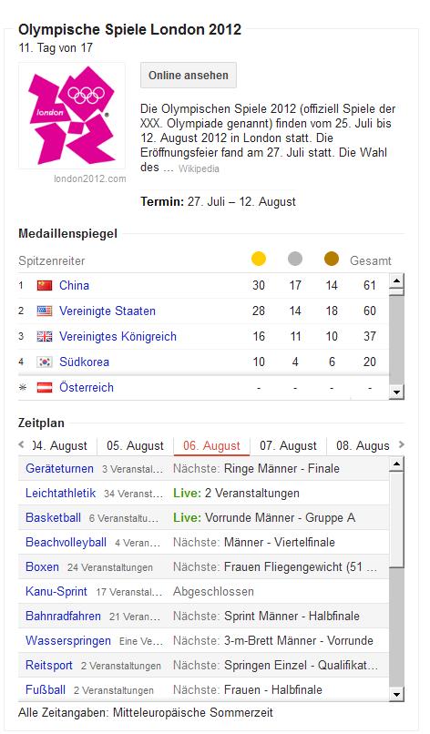 Screenshot www.google.at - Suche nach 'Olympia'