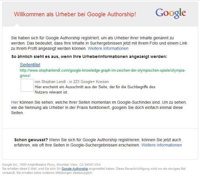 Willkommen als Urheber bei Google Authorship, Screenshot Gmail
