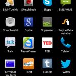 Screenshot: App Drawer - Alphabetische Sortierung (nicht abänderbar) zum horizontalen Scrollen