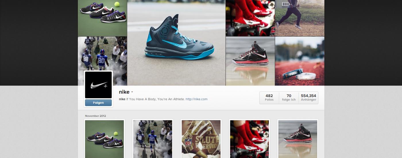 Screenshot: Nike auf Instagram - neues Design
