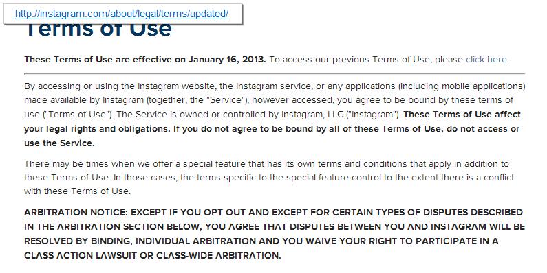 Screenshot: Instragram - New Terms of Use