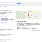 Screenshot www.google.at: Suche nach Bad Blumau - Weiter geht es mit den Orten; bis jetzt vor allem umkämpft von der Gemeinde und dem Tourismusverband.