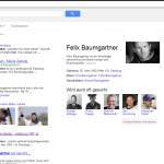 """Screenshot www.google.at: Suche nach Felix Baumgartner - Auch Prominente verschiedenster Art sind zu finden. Spannend wäre zu wissen nach welchen Kriterien hier """"ähnliche Suchen"""" vorgeschlagen werden!?"""
