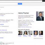 Screenshot www.google.at: Suche nach Heinz Fischer - Politker und Personen sind erwartungsgemäß schon vertreten.