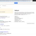 Screenshot www.google.at: Suche nach Helium - Chemische Elemente und andere strukturierte Daten sind auch zu finden.