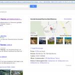 Screenshot www.google.at: Suche nach Hundertwassertherme - Google+ Local Einträge sehen überraschend ähnlich aus. Größter Unterschied auf den ersten Blick sind die Bewertungen und der optisch abweichende Feedback-Link.