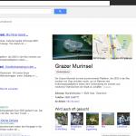 Screenshot www.google.at: Suche nach Murinsel - Sehenswürdigkeiten waren auch erwartbar. Aber woher stammt die Telefonnummer der Murinsel? ;-)