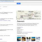 Screenshot www.google.at: Suche nach Österreich - Spannend auch für den Tourismus: Geografische Bezeichnungen liefern somit immer mehr automatisierte Treffer.
