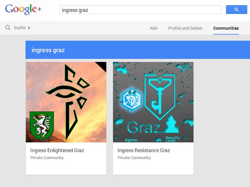 Ingress Graz Communities auf Google+